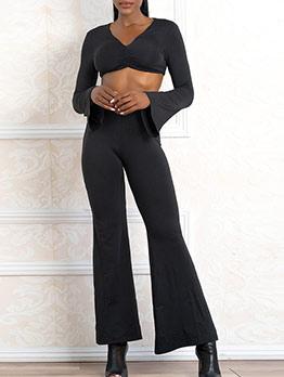 V Neck All Black Crop Top And Flare Pants Set