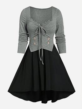 Patchwork Front Tie Plus Size Dresses