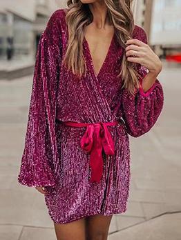 Loose v Neck Wrap Long Sleeve Sequin Dress