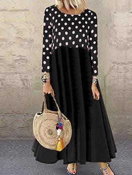 Polka Dots Loose Long Sleeve Maxi Dress