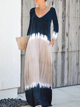 Leisure Color Block Ladies Casual Maxi Dresses