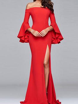Off Shoulder Flare Sleeve Split Long Evening Gowns