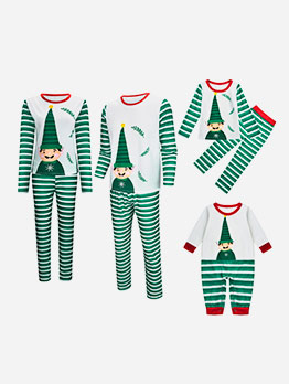 Winter Green Striped Long Sleeve Christmas Family Set
