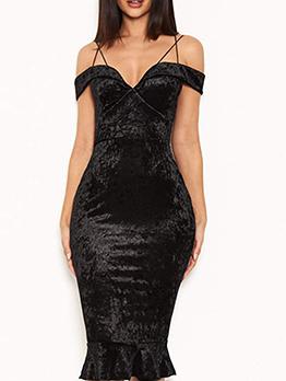 Night Club Slim Fit Black Bodycon Dress