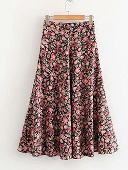Vintage Printed Midi Circle Skirt