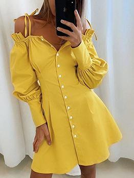 Single-Breasted Shoulder Strap Solid Ladies Dress