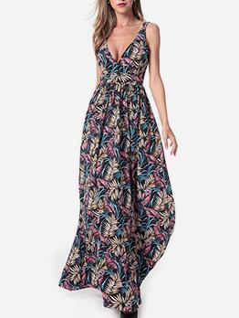 Backless V Neck Print Sleeveless Boho Maxi Dress