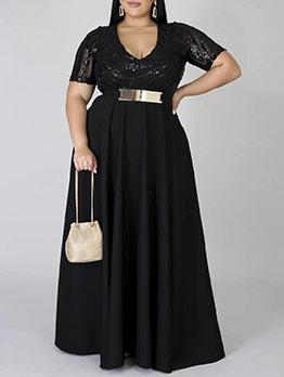 Sexy Low-Cut Sequin Black Plus Size Maxi Dress