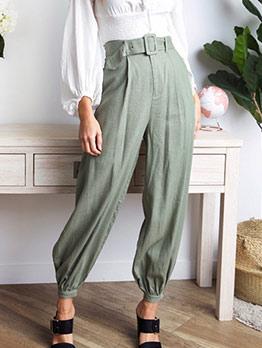 All Green Loose Harem Pants With Belt