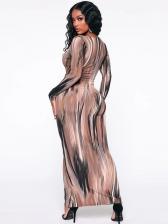 Deep V Neck Print Tie-Wrap Long Sleeve Maxi Dress