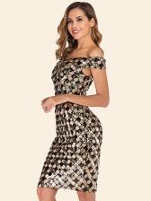 Off The Shoulder Plaid Ladies Sequin Dress