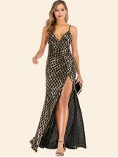 Sexy Slip Slit Plaid Sequin Evening Cocktail Dress