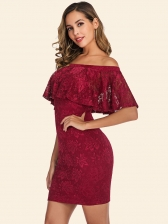Lace Ruffled Off Shoulder Bodycon Dress
