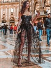 Chic Sequin Slip Gauze Patchwork Sexy Maxi Dresses