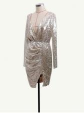 Backless Deep v Asymmetric Hem Sequin Cocktail Dresses