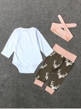 Letter Long Sleeve Rompers With Elk Print Pants