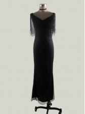 Glitter v Neck Fringe Slim Black Evening Dresses