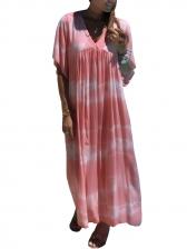 V Neck Loose Ladies Casual Maxi Dresses