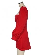 Modern Asymmetric Trim Solid Dresses Online