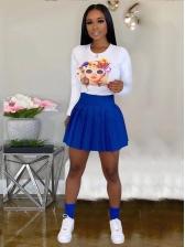Print Long Sleeve T-Shirt With High Waist Pleated Skirt