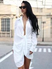 Front Tie Turn-Down Collar Ladies Dress