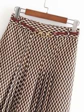 Vintage Printed Midi Pleated Skirt