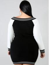 Autumn Contrast Color Long Sleeve Plus Size Dress