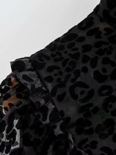 Leopard Printed Ruffled See Through Blouse