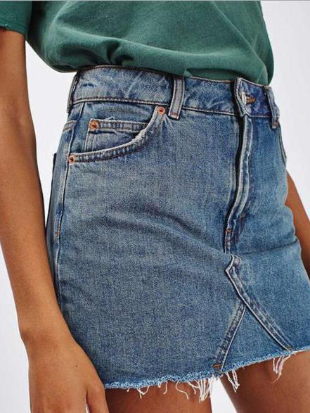 Fashion Solid Tassel Hem Denim Skirt