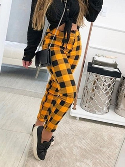 Stitching Color Plaid Mid Waist Casual Long Pants