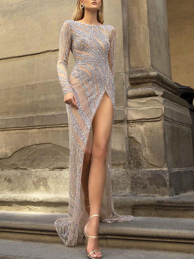 High Split Hem Fitted Sequin Long Sleeve Evening Dress