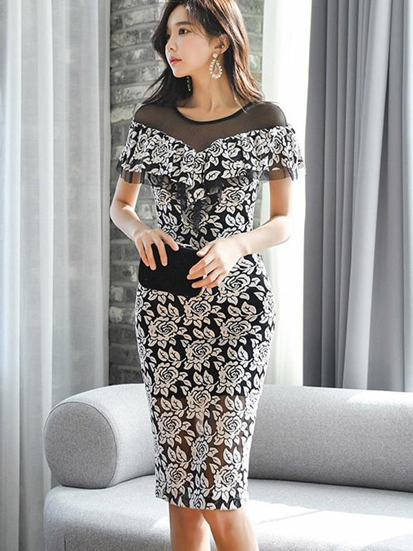 Elegant Gauze Panel Floral Bodycon Dress