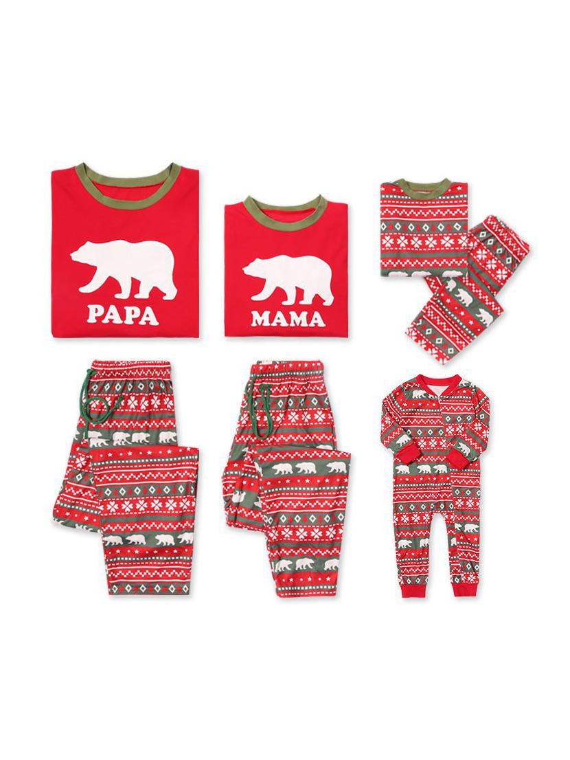 Cartoon Bear Print Red Christmas Family Set