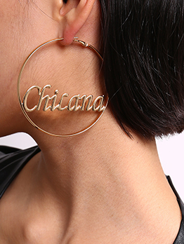 Chic Circle Hollow Out Letter Earrings For Women