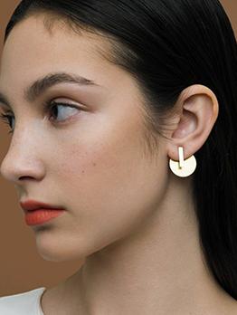 Simple Geometric Alloy Sequin Stud Earrings