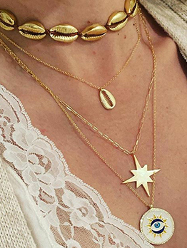 Beach Metal Shell Star Layered Necklace