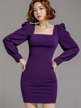 Elegant Square Neck Puff Sleeve Purple Dress