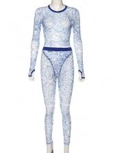 See Through Printed Bodysuit And Long Pant Set