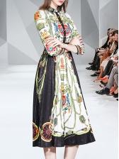 Single-Breasted Printed Pleated Long Sleeve Dress