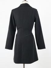 Pure Color V Neck Blazer Dress