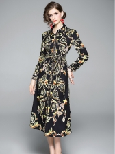 Vintage Print Shirt Ladies Midi Dress