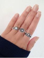 Flower Crown Rhinestone 4 Piece Ring Sets