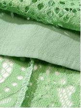 Chic Tie Neck Lace Midi Dress