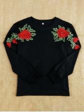 Flower Embroidery Black Sweatshirt