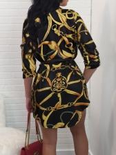 Retro Printed Single-Breasted Shirt Dress