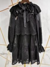 Lace Gauze Patchwork Two Piece Dress Set