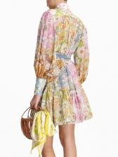 Boutique Colorful Printed Chiffon Two Piece Dress Set