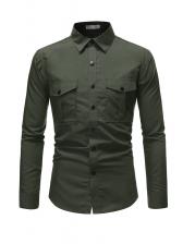 Business Pure Color Dual Pockets Long Sleeve Shirts