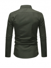 Business Pure Color Dual Pockets Long Sleeve Shirts