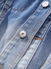 Loose Tie Dye Pockets Gradient Color Denim Jacket